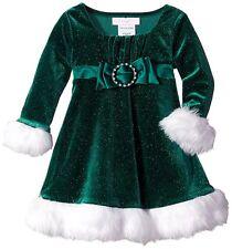 BONNIE JEAN Baby Girls Green Faux Fur Bow Santa Christmas Dress Size 18 Mo NWT
