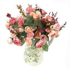 6 Color Artificial Rose Fake Silk Flowers 21 Head Flower Bouquet Party Decor DIY