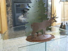 Rustic Elk side/end table lamp green pine tree with Shade Avalanche Ranch