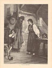 Children, Medical, Bitter Medicine, Vintage 1894 German Antique Art Print