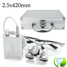 Dental Loupes 2.5x 420mm Surgical Binocular Medical  LED Head Light Lamp + case