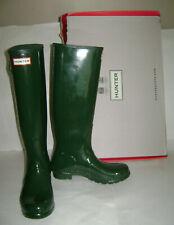 NEW HUNTER ORIGINAL TALL GLOSS WOMEN RAIN BOOTS Size 8 HUNTER GREEN SIDE ADJUST
