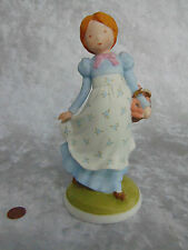 "New 1974 Porcelain Holly Hobbie 8"" Girl Figurine Basket Forget Me Not Flower Nib"