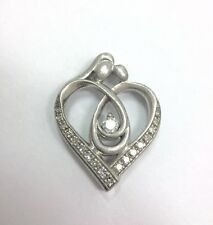 Diamond Mother & Child Heart Love Pendant for Necklace Sterling Silver 925 FMGE