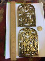ANTIQUE A PAIR OF ORIENTAL-MEN HORSE-POLYNESIAN CLUBS ON BRASS-WINDOW SHAPE