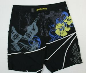 OMR by One More Round 38 Men's MMA Fight Shorts in Black Printed