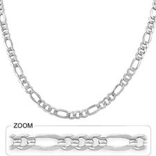 "Men's Figaro Link Chain Polish Necklace 6.00mm 18"" 21.00gm 14k Solid White Gold"