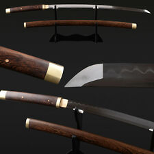 Handmade Japanese Samurai Katana Clay tempered 1095 folded Real Hamon Rosewood
