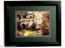 COUNTRY COTTAGE  HOUSE PICTURE COLLIE DOG MATTED FRAMED 11X14
