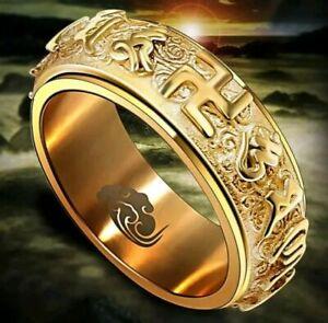 Tibetan Buddha Spinning Gold Ring
