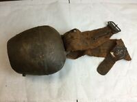 """Large Vintage Bronze/Brass Cow Bell on a Leather Belt - 6""""Tx8""""W weights 4.1/2 Lb"""