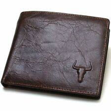 New Vintage Style Brown Cow Leather Mens Wallet Zippered Coin Pocket Purse