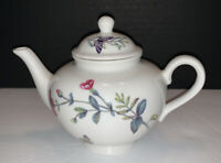 Nantucket Home Porcelain Tea For One Teapot Lid Floral & Butterfly Design