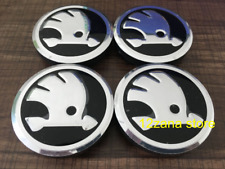 ALLOY WHEEL CENTRE CAPS BLACK 56mm 4X SET FOR SKODA FABIA VRS RS OCTAVIA VRS RS