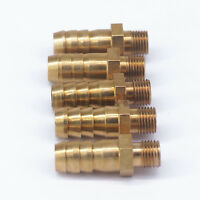 5pcs Hose Barb 10mm x M10*1mm Metric Male Brass Splicer Adapter Pipe Fittings