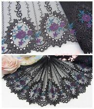 "7""*1Y Embroidered Tulle Lace Trim~Black+Deep Blue+Deep Purple~Dreamy Portrait~"