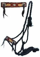 Showman Woven Black Nylon Mule Tape Halter w/ Painted Feather Leather Noseband