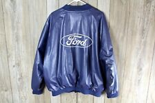 Vintage FORD Bomber Jacket Coat XL Steve & Barry's Vinyl Blue Varsity Style
