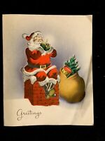 "c1950's Vintage Santa Norcross 4"" X 5"" Christmas Greeting Card"