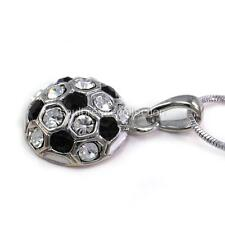 White Black Soccer Foot Ball Sports Pendant Necklace Clear Stone Jewelry Charm