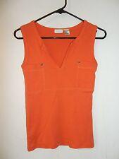VOICE Orange Sleeveless & Lightweight V-Neck Tank Top Shirt Blouse Size M