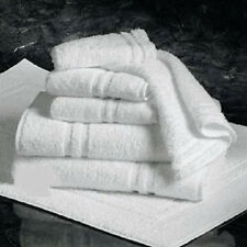 24 (2 DOZEN) WHITE 100% COTTON HOTEL HAND TOWELS 16X27