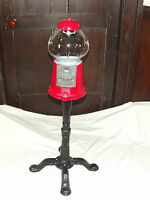 3 FOOT HIGH METAL & GLASS  RED & BLACK  CANDY GUMBALL MACHINE