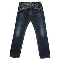 Silver Jeans Berkley Womens 31x31 Blue Stretch Denim Rhinestone Embroidered