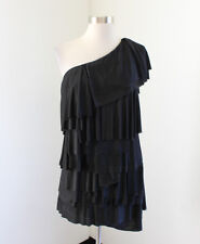 BCBG Max Azria Black One Shoulder Ruffle Tiered Party Cocktail Dress Size S