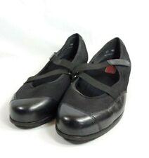 Munro Mary Jane Loafers Women's Sz 10 WW Black Fabric Leather Toe (tu41ep)