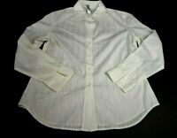 Chicos Womens Size 1 Top Long Sleeve Striped Career Casual Blouse Shirt White