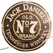 JACK DANIELS Wood Signs Retro Vintage Round Wooden Circle Man Cave Wall Sign UK