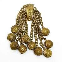 Art Deco Gilt Dress Fur Clip Gold Cluster Dangles Brass