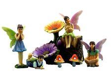 Fairy Garden Flower Stump - Kit With Miniature Fairies & Accessories - Colorf...