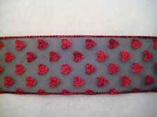 """$1.50/Yard Sheer Red Glittered Hears 2 1/2"""" Wired Black Ribbon by the Yard"""
