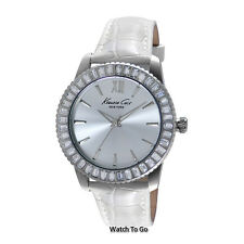 NEW KENNETH COLE WATCH for Women * Baguette Crystals w/White Leather Band KC2849