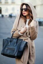 ZARA DARK CAMEL BELTED WOOL COAT JACKET WITH HOOD SOLD OUT SIZE EXTRA LARGE XL