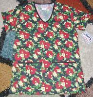 Christmas V Neck Scrub Top Bottom Pockets Poinsettia Print Sz XS