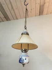 VINTAGE 1980'S BLUE & WHITE CERAMIC - DELFT LOOKING - PENDANT CHANDELIER