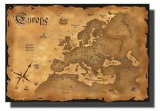 Large Canvas Map of Old Europe Wood Frame Wall Art 3D Picture 70 x 50cm