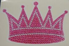 PRINCESS CROWN PINK AND WHITE- PEARL EFFECT ** CAR  DECAL / STICKERS