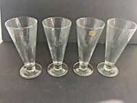 "4 Luminarc  FRANCE 7 7/8"" Optic Swirl  Iced Tea / Pilsner Mint Condition"