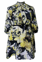 New Ladies Yellow Grey Pussy Bow Floral Print Dress Plus Size 16 - 26