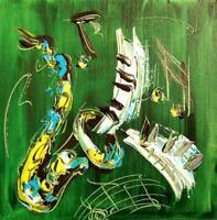 GREEN SAX DECOR by Mark Kazav  Abstract Modern CANVAS Original Oil P435Y