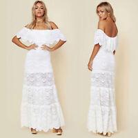 Womens Off Shoulder Cocktail Party Long Maxi Dress Summer Beach Kaftan Sundress