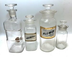 """Lot 4 Antique Apothecary Bottles Glass Labels ..Alumen/Mag.Oxid.Pond..8 1/4""""-5"""""""