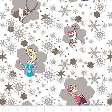 Disney Frozen Snow Flakes White 100% cotton flannel fabric by the yard