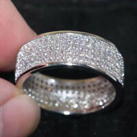 Ring Stackable Luxury White Sapphire Eternity 925 Silver Plated Wedding Sz5-12