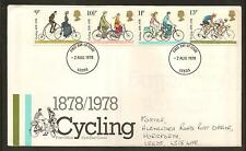 GREAT BRITAIN, Centenary of Cycling,1st Day Cover, 02/08/1978