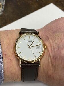 Solid 18 Carat Gold Gents Tissot Classic White Dial Wristwatch Watch, Big Saving